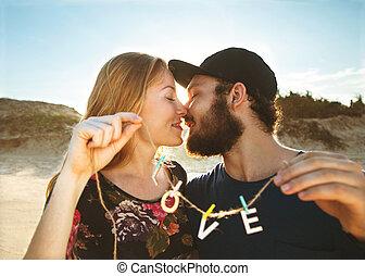 conceito, amor, valentine, par, dunas, areia, dia, feliz
