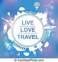 conceito, amor, viagem, viver, ilustração, vetorial