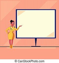 conceito, anúncio, texto, esp, desenho, femininas, em branco, ficar, isometric, doutor, isolado, modelo, vazio, 3d, site web, apartamento, negócio, whiteboard, ilustração, mão, estetoscópio, espaço cópia, vetorial, apresentando