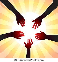 conceito, ao redor, sol, vetorial, mãos, amigável
