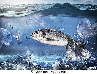 conceito, apanhado, peixe, plástico, mar, sob, problema, bag., flutuante, poluição