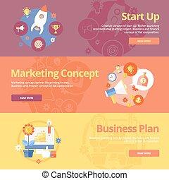 conceito, apartamento, cima, jogo, negócio, teia, marketing, plan., início, materiais, desenho, conceitos, impressão, bandeiras