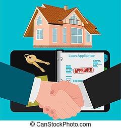 conceito, apartamento, hipoteca, contrato