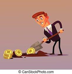 conceito, apartamento, profit., escritório negócio, sucedido, dinheiro, personagem, isolado, ilustração, empresário, projeto gráfico, homem negócios, trabalhador, fazer, sorrindo, caricatura, feliz