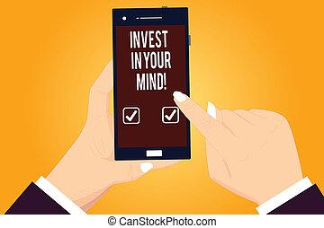 conceito, apontar, cor, texto, você mesmo, em branco, educação, seu, conhecimento, escrita, mind., segurando, novo, mais, smartphone, negócio, adquira, screen., hu, tocar, mãos, melhorar, palavra, investir, análise