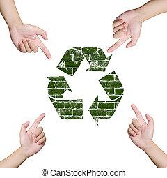 conceito, apontar, sinal., mão, recicle, mundo, salvar