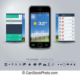 conceito, app, tempo, ui