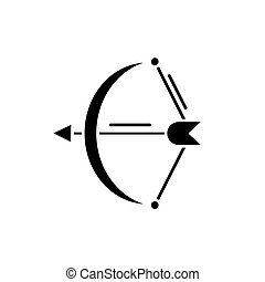 conceito, arqueiro, isolado, ilustração, sinal, experiência., vetorial, pretas, ícone, símbolo