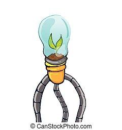 conceito, arte, árvore, lâmpada, vetorial, verde