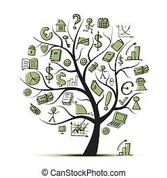 conceito, arte, ícones negócio, árvore, desenho, seu