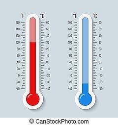 conceito, arte, abstratos, equipment., tempo, desenho, celsius, gelado, signs., escala, temperature., calor, isolado, criativo, fahrenheit, experiência., termômetros, ilustração, gráfico, meteorologia, vetorial, quentes