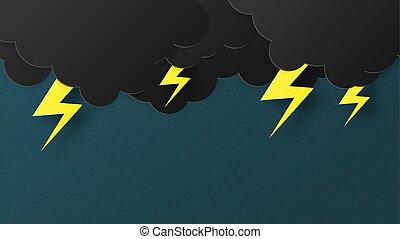 conceito, arte, cartaz, papel, template., nuvem, antes de, azul, corte, bandeira, céu, style., pretas, tempestade, thunderbolt, fundo, chuva, papel parede, illustration., relampago, idea., vetorial