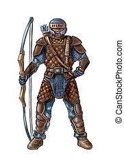 conceito, arte, fantasia, couro, ilustração, armadura, arqueiro, bow.