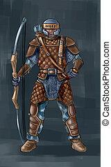 conceito, arte, fantasia, ilustração, de, arqueiro, em, couro, armadura, com, bow.