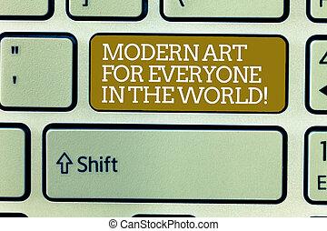 conceito, arte, keypad, texto, modernos, teclado computador, espalhar, criar, criatividade, escrita, intention, mensagem, world., negócio, mostrando, tecla, palavra, idea., apertando, everyone, outro