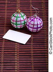 conceito, arte, paper., saudação, ano, novo, christmas branco, cartão