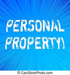 conceito, ativos, posses, pessoal, texto, privado, escrita, significado, indivíduo, pertences, letra, property., owner.