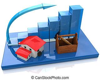 conceito, barzinhos, negócio, edifícios, gráfico, habitação, -, mapa, casas, construção, crescendo, novo