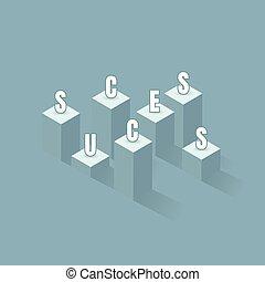 conceito, barzinhos, success., negócio, gráfico, schedule., vencedor, sucesso, ilustração, bandeira, vetorial, financeiro, líder