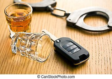 conceito, bebida, dirigindo