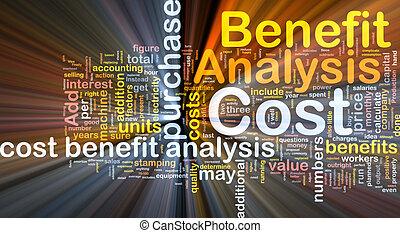conceito, benefício, análise, glowing, custo, fundo
