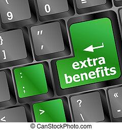 conceito, benefícios, negócio, extra, botão, -, teclado