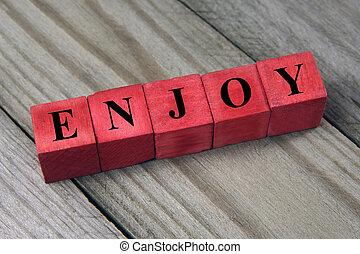 conceito, blocos, apreciar, madeira, palavra, vermelho