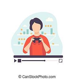 conceito, blogger, aquilo, computador, revisar, criando, jovem, mídia, conteúdo, online, passatempo, canal, seu, postando, ilustração, jogos, homem, aproximadamente, vetorial, gamer, social, profissional, macho