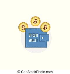conceito, bolsa ouro, bitcoin, carteira, vetorial, moeda, ícone