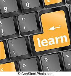 conceito, botão, computador teclado, aprender, educação