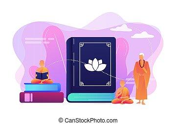 conceito, budismo, vetorial, illustration.