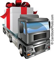 conceito, caminhão, presente