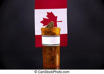 conceito, canadense, médico, bandeira, marijuana, contra, cannabis, broto