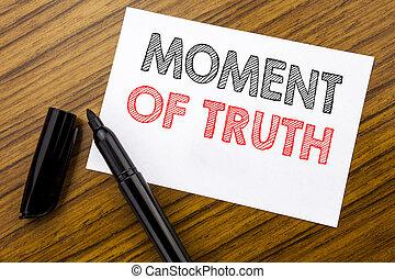 conceito, caneta, negócio, pressão, madeira, texto, decisão, difícil, momento, nota pegajosa, truth., escrito, papel, fundo, marcador, escrita, mostrando