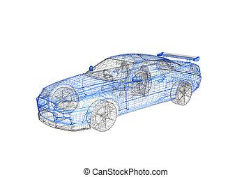 conceito, car, modernos, projeto, modelo, 3d