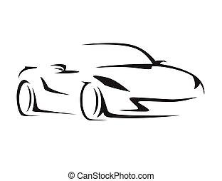 conceito, car, silhouette., supercar, veículo, esportes