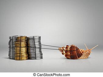 conceito, caracol, espaço, dinheiro, operação bancária, puxando, cópia