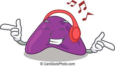 conceito, caricatura, música, desenho, escutar, fone, ...