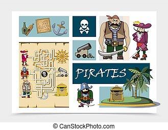 conceito, caricatura, mar, piratas