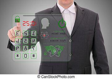 conceito, cartão, acesso, apertando, segurança, dados, homem
