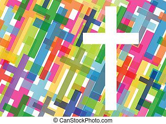 conceito, cartaz, abstratos, crucifixos, ilustração, cristianismo, religião, vetorial, fundo, mosaico