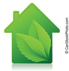 conceito, casa, ecológico, vetorial, ilustração