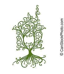conceito, casa, ecologia, verde, desenho, seu