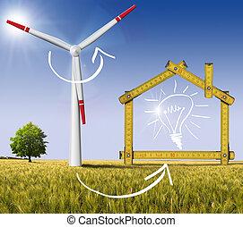 conceito, casa, energia, -, ecologic, vento