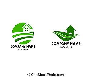 conceito, casa fazenda, jogo, logotipo, modelo, paisagem