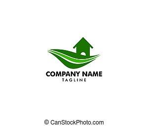 conceito, casa fazenda, paisagem, modelo, logotipo