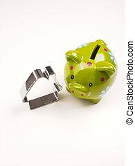 conceito, casa financeira, forma, cofre