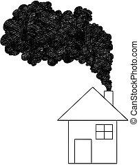 conceito, casa, ilustração, chaminé, vetorial, artisticos, fumaça, vinda, ar, desenho, poluição