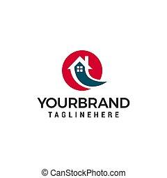 conceito, casa, rapidamente, vetorial, desenho, modelo, logotipo
