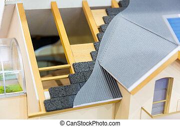 conceito, casa, térmico, telhado, isolação, modelo